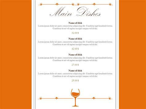 powerpoint design menu restaurant menu powerpoint template