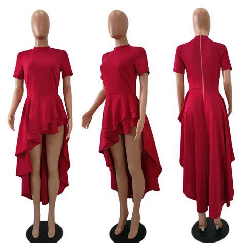 Mini Dress Knf 1374 sleeve high low peplum dress bodycon casual