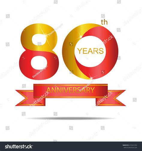 80 years of color books template logo 80th anniversary gold stock vector