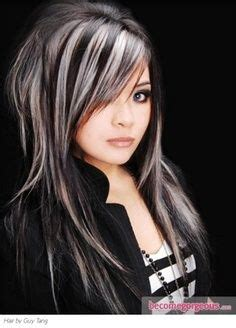 gray hair streaked bith black grey streaks hair pinterest