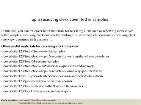 Receiving Inspector Cover Letter by Top 5 Receiving Clerk Cover Letter Sles