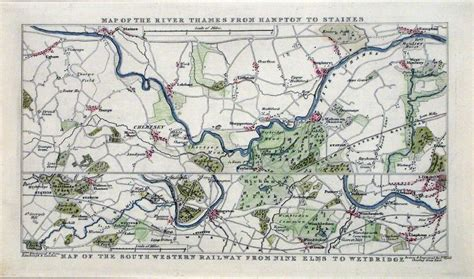 river thames map staines antique river canal maps of uk general