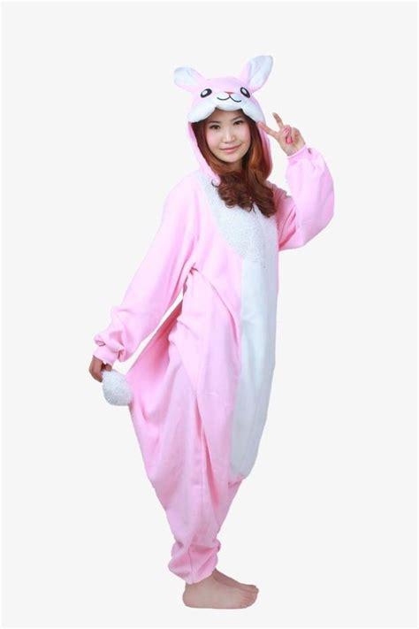 Bunny Pyjamas pink rabbit bunny fleece onesie kigurumi pajamas