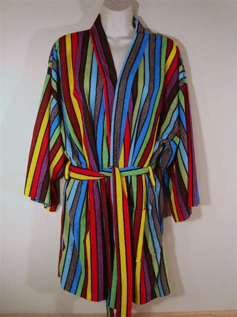 colorful robes vintage handmade colorful striped lightweight bathrobe