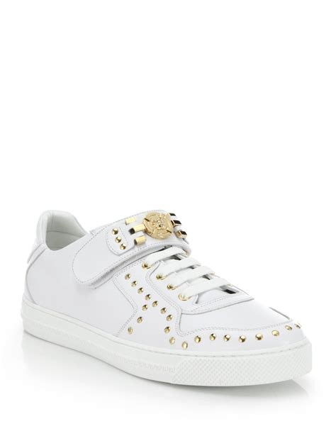 versace sneakers for versace studded logo sneakers in white lyst