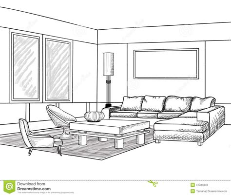 How To Draw House Plans On Computer by Interior Outline Sketch Furniture Blueprint Stock