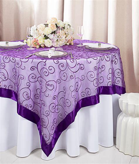 purple table overlays purple embroidered organza table overlays wholesale