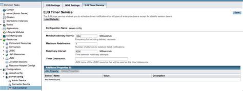 glassfish admin console java set configure the ejb timer service s datasource