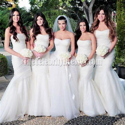 Celebrity Kim Kardashian Wedding White Mermaid Bridesmaid