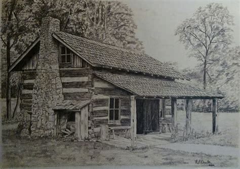 Drawings Of Log Cabins by Log Cabin Drawing Historical Print Frontier