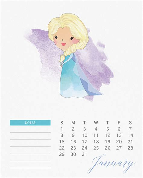 Calendã De Outubro 2017 Free Printable 2017 Watercolor Princess Calendar The