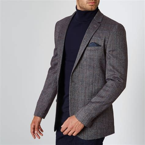 river island mens grey herringbone check