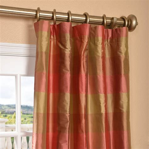 plaid silk drapes get derby silk plaid curtains and drapes