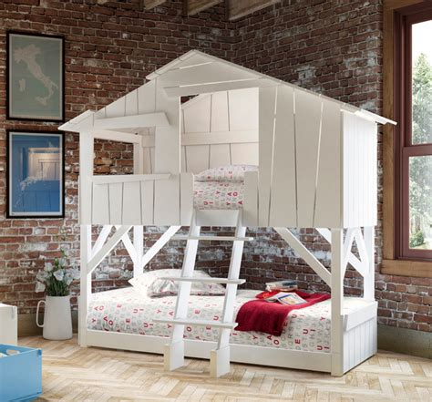 Kids Bedroom Treehouse Bed Bunk Bed Bunkbed Beach Style Tree House Bunk Bed Plans
