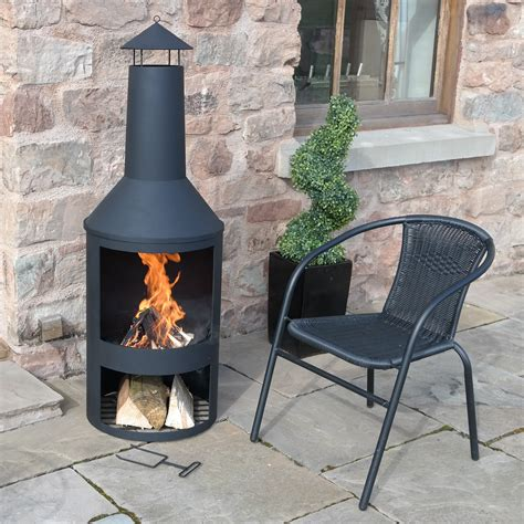 4ft 4 quot extra large chimenea black fire pit burner patio