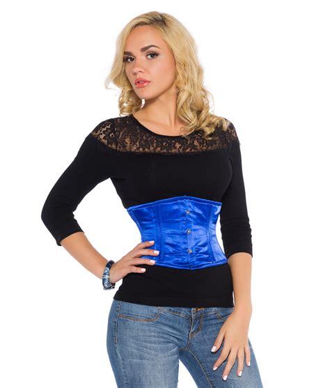 Satin Corset blue satin underbust corset steel boned