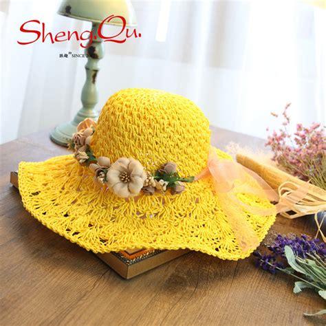 Promo Topi Pantai Topi Lebar Floppy Hat 2016 fashion wanita lipat lebar besar brim cap pantai topi matahari bunga topi floppy