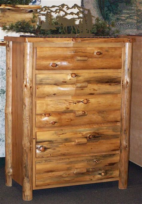 Pine Log Dresser amish rustic pine log furniture chest of drawers
