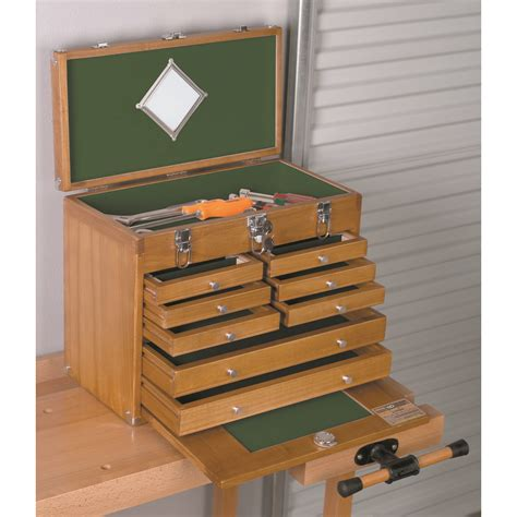 wood tool chest w 8 wood tool drawers