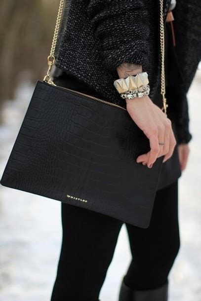 Croco Clutch Series bag beautiful bags black leather bag leather crocodile