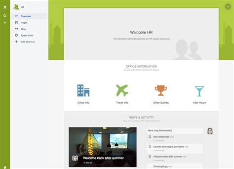 confluence template space home templates refinedspaces for confluence cloud