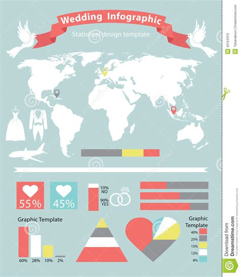 wedding infographic template wedding infographics set with world map stock vector