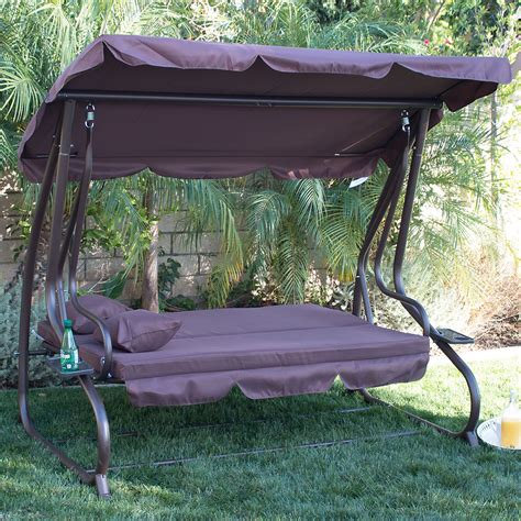 outdoor loveseat swing 3 person outdoor swing w canopy seat patio hammock