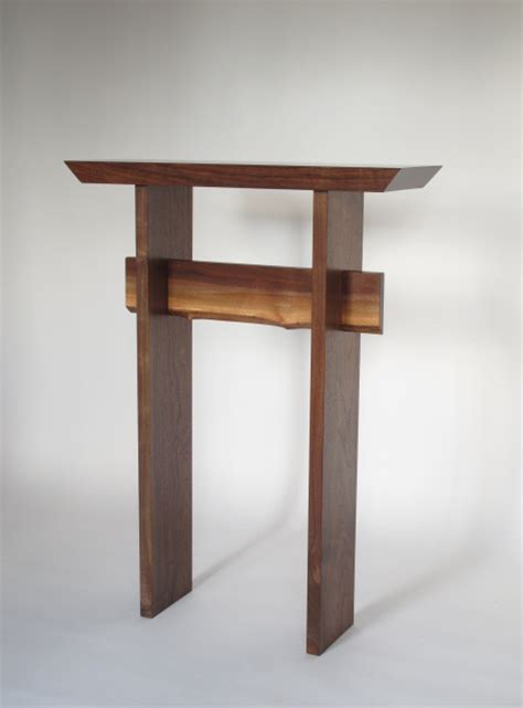 Narrow Entry Table Statement Table In Solid Walnut With Live Edge Stretcher Entry Table Narrow Console Table