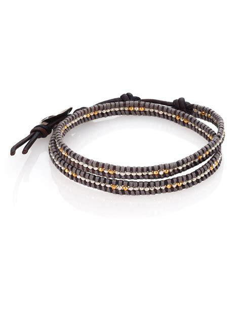 leather bead wrap bracelet chan luu two tone beaded leather row wrap bracelet