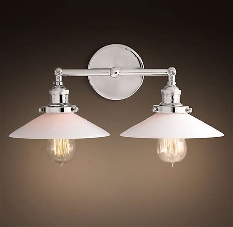 double sconce bathroom lighting 20th c factory filament milk glass double sconce