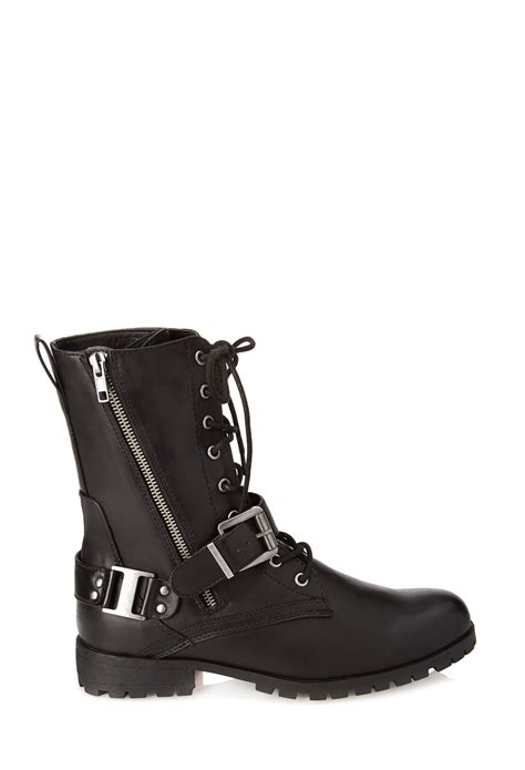 combat boots for forever 21 forever 21 lace up buckled combat boots in black lyst