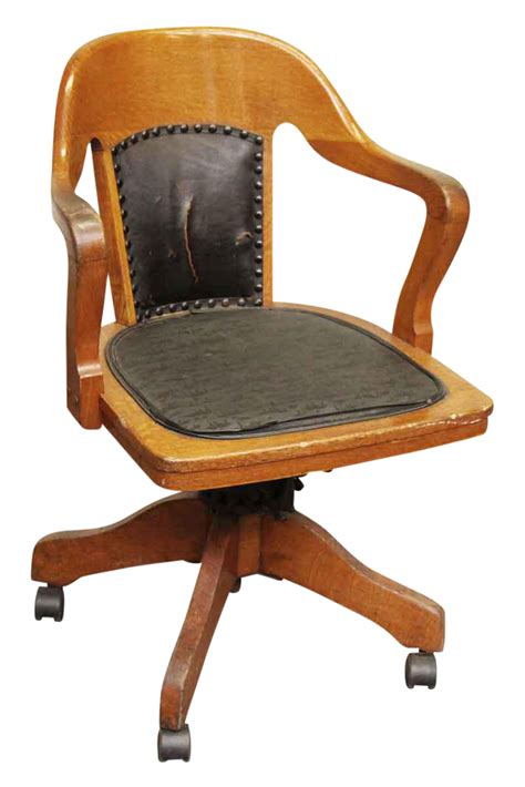 rolling desk chairs wooden rolling desk chair with vinyl chairish