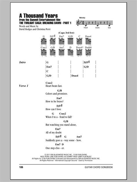 tutorial guitar thousand years a thousand years sheet music by christina perri lyrics