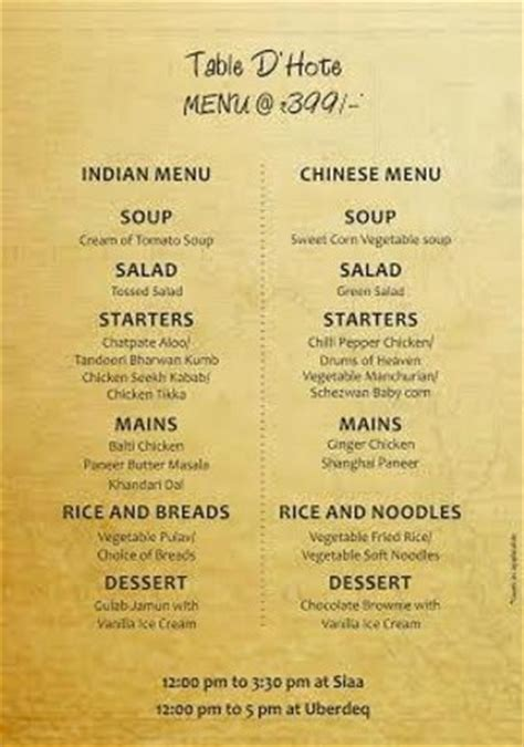 Table Menu by Table D Hote Lunch Menu Picture Of Siaa Hyderabad