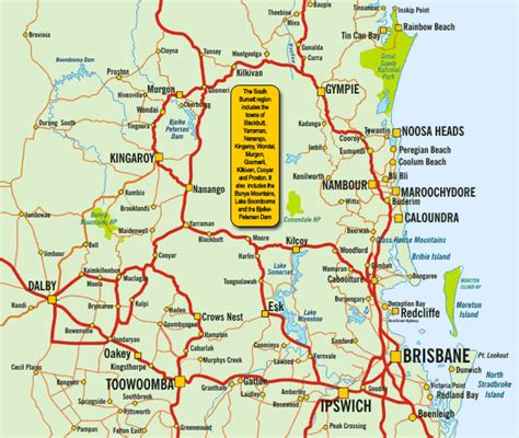 printable qld road map south burnett tourism location map