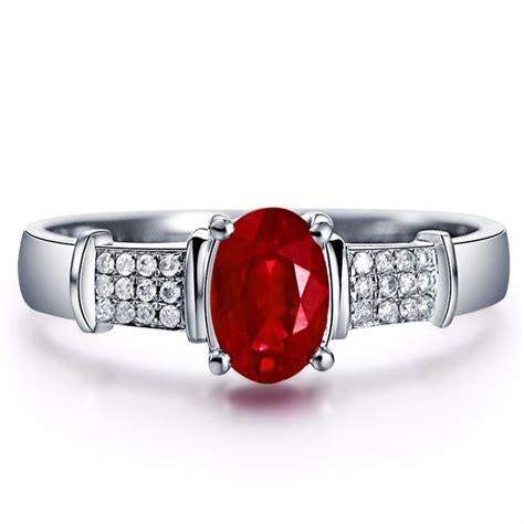ruby with engagement ring on 10k white gold