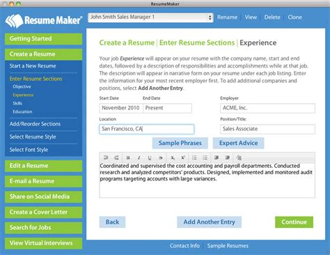 Resume Maker Software Exle Resume Resume Builder Mac Os X