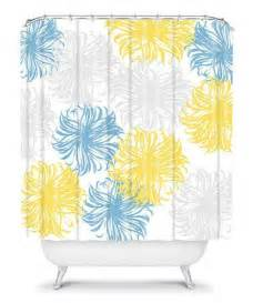 blue yellow dandelions shower curtain