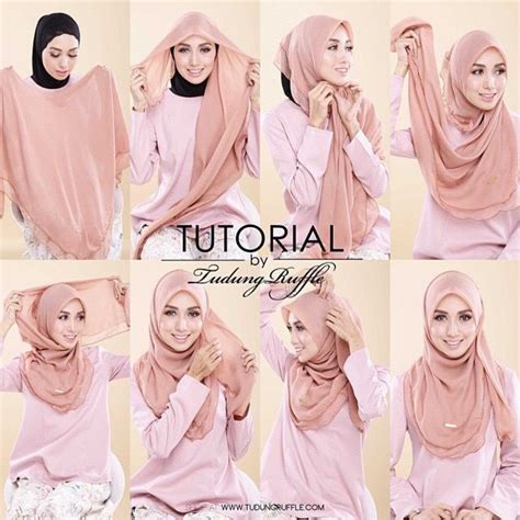 tutorial hijab pashmina satin formal tutorial by tudung ruffle hijab tutos pinterest