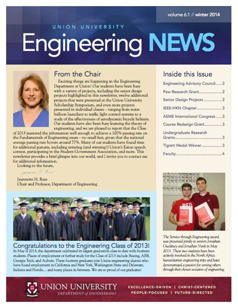 College Newsletter newsletter department of engineering union