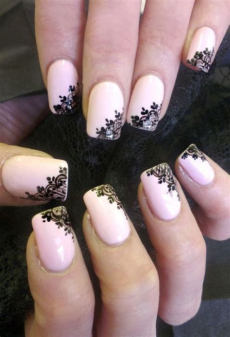 nails design unique 50 beautiful pink and black nail designs light pink
