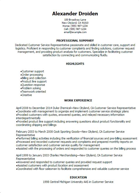 resume sle for customer service customer service rep
