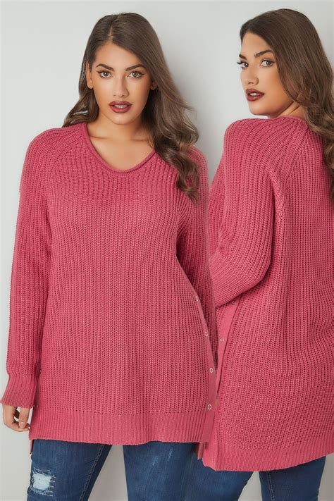 Sweater Casual Fashion Pria Model Purple Indigo Bottom Black List 694 dusty pink chunky knit v neck jumper with popper sides