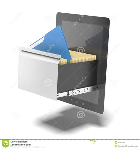 free digital file cabinet software tablet and file cabinet royalty free stock image