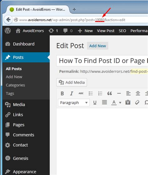 Search For Pages Or Posts How To Find Post Id Page Id In Avoiderrors