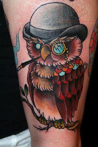 owl tattoo hat owl with black hat tattoo on leg