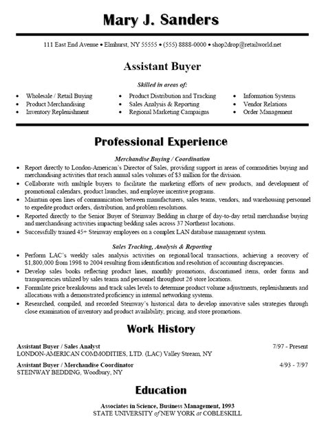 resume sle for assistant buyer career research