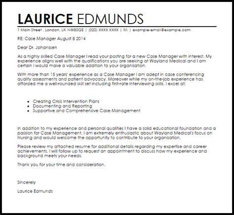 Cover Letter For Intervention Manager Cover Letter Sle Livecareer
