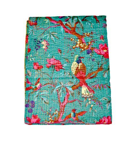 indian cotton kantha quilt blanket saree kantha quilt