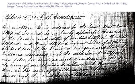 Grant County Indiana Court Records Starling Stafford Genealogy
